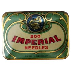 Vintage Phonograph Needle Tin - Imperial Made in Germany - Colorful Graphics