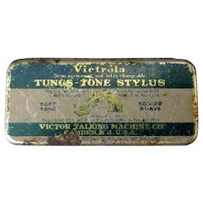Vintage Phonograph Needle Tin - Victrola Tungs-Tone Tin with Original Needles