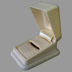 Vintage Ring Box – Cream Colored, Early Plastic with Nice Design