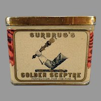 Vintage Surbrug's Golden Sceptre Tobacco Tin - Nice Advertising Tin with Scepter Graphics
