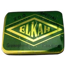 Vintage Elkah Gramophone Needle Tin - Empty Phonograph Needle Tin