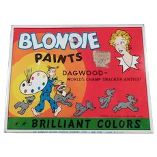 Vintage Blondie and Dagwood Comic Characters - Water Color Paint Set Tin