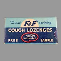 Vintage Medicine Sample - F & F Cough Drop Lozenges Sample Box