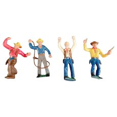Four (4) Vintage Plastic Cowboy Action Figure Toys from Germany