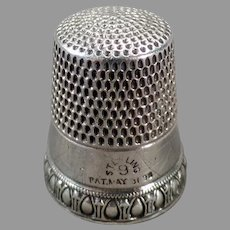 Vintage Sterling Silver Sewing Thimble - Priscilla Pattern by Simons Brothers