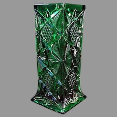 Vintage Illinois Pattern, Pressed Glass Soda Fountain Strawholder - Emerald Green