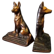 Vintage Cast Dog Bookends – German Shepherds with Copper/Bronze Finish