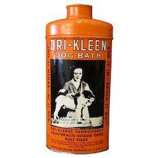 Vintage Hartz Mountain Dri-Kleen Dog Bath Powder Tin with Nice Graphics