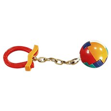 Vintage Dexterity Puzzle Ball and Good Luck Horse Shoe Key Holder and Chain