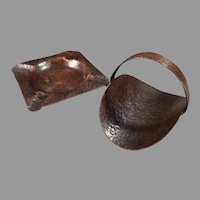 Vintage Arts and Crafts Hammered Copper Smoking Set - Ashtray with Matching Cigarette Holder