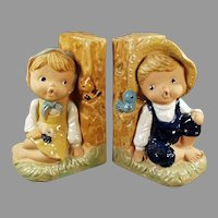 Vintage Pottery Bookends - 1960's Enesco Country Boy and Girl Figures