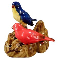 Vintage Pottery Flower Frog with Colorful Little Birds - Made in Japan