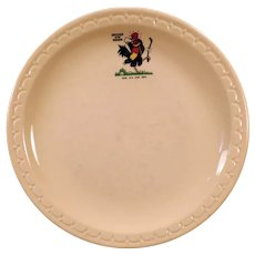 Vintage Restaurant China circa 1969 Chicken in the Rough Advertising Dinner Plate