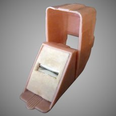 Vintage Ring Box – Pink Plastic, Narrow Shape with Deco Lines
