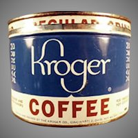 Vintage 1#  Key Wind Kroger's Coffee Tin with 5c Off Advertising
