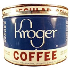 Vintage 1#  Key Wind 5c Off Kroger's Coffee Tin with Advertising on the Lid