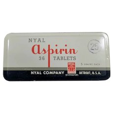 Vintage Nyal 36 Aspirin Medicine Tin - Old Medical Advertising