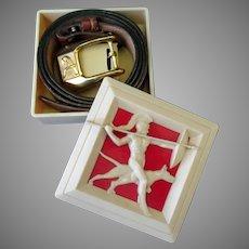 "Vintage Cowhide Leather Hickok Belt with ""A"" Monogram Buckle & Fancy Original Bakelite Box"