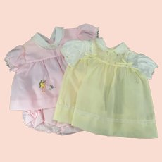 Two Vintage Baby Outfits - One Pink and One Yellow
