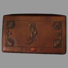 Vintage Hand Tooled Leather Hand Bag Clutch – Art Nouveau Detail
