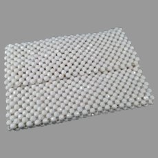 Vintage 1970's White Bead Handbag Evening Clutch from Italy - Small Purse