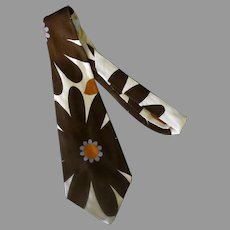 Wide Men's Vintage Necktie – Large Brown Flowers, Bold Yet Slightly Understated