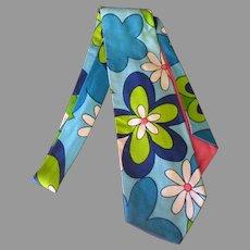 Wide Men's Vintage Necktie with Colorful Blue Flower Power