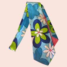 Wide Men's Vintage Necktie with Colorful Blue Flower Power