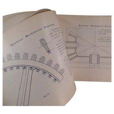Vintage 1902 Self Help Mechanical Drawing Book by N. Hawkins