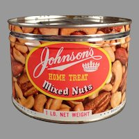 Vintage Key Wind Nut Tin - Johnson's Home Treat Mixed Nuts Tin