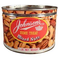 Vintage Key Wind Nut Tin - Johnson's Home Treat Mixed Nuts Tin