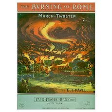 Vintage 1932 The Burning of Rome Sheet Music - Colorful Graphics