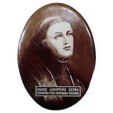 Vintage Celluloid Mirror with Padre Junipero Serra - California Mission Memorabilia