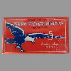 Vintage Razor Blades - Full Unopened Burd Razor Box with Bird Graphics