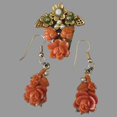 Vintage Costume Jewelry Faux Coral Set – Pin & Earrings