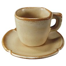 Vintage Frankoma Pottery Little Demitasse Cup and Saucer - Plainsman Ada Clay