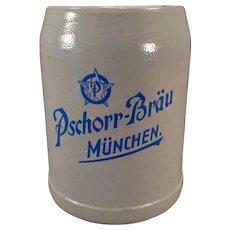 Vintage German Stoneware Beer Stein – Pschorr-Brau Muchen .5L Ale Mug