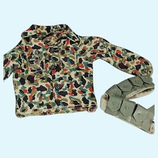 Vintage G.I. Joe Doll Clothes - Camouflage Shirt and Belt Accessory