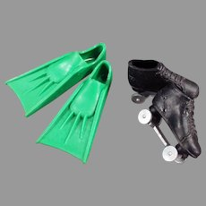Two Vintage Ken Doll Sports Shoes - Scuba Fins and Roller Skates