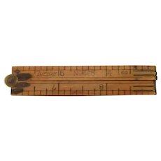 "Vintage Lufkin #465 (69) 12"" Boxwood 4 Section Folding Rule with Brass Hardware"