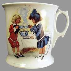 Vintage Porcelain Shaving Mug with Buster Brown and Mary Jane - German