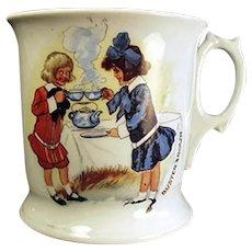 Vintage Porcelain Shaving Mug with Buster Brown and Mary Jane - German