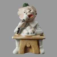 Vintage German Bisque Match Holder with Comical Character