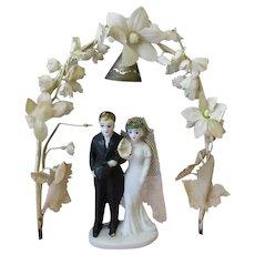 Vintage Wedding Cake Topper with Bride & Groom Under Flowered Arch