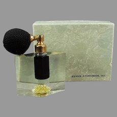 Vintage Evans Lucite Perfume Atomizer -  Arlene Yellow with Original Box