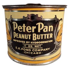 Vintage E.K. Pond Peter Pan Peanut Butter Tin with Lid - Nice Graphics