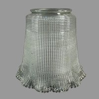 """Heavily Ribbed Vintage Light Fixture Shade with Large 3 ¼"""" Neck"""