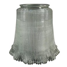 "Heavily Ribbed Vintage Light Fixture Shade with Large 3 ¼"" Neck"
