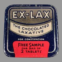Vintage Ex-Lax Laxative Tablets Sample Tin - Old Medical Advertising Tin