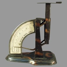 Vintage 1904 Triner Superior Postal Desk Scale Office Accessory with Original Tiger Stripe Finish